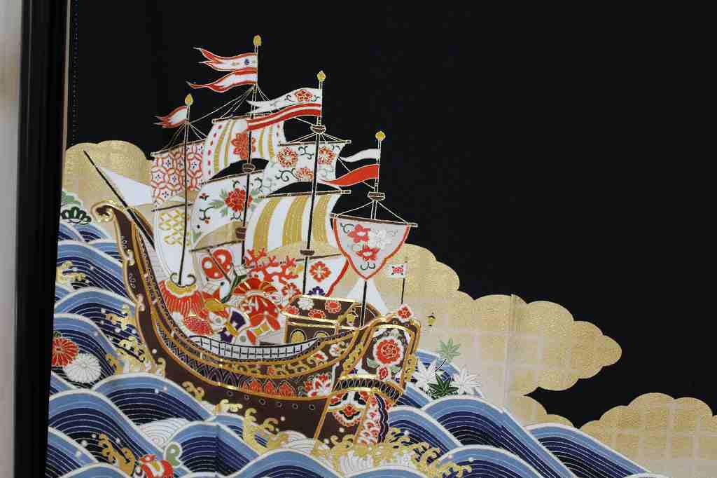 黒留袖「青海波・宝船」