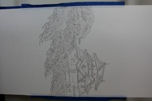 オーダー名古屋帯「彦根城」、下絵