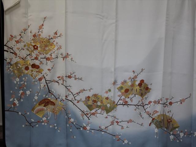 オーダー訪問着「梅に地紙散らし」